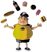 Overweight child with fast food