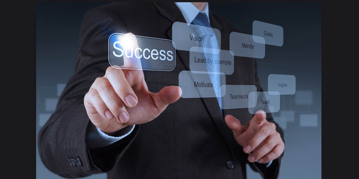 businessman hand pointing to success diagram as concept
