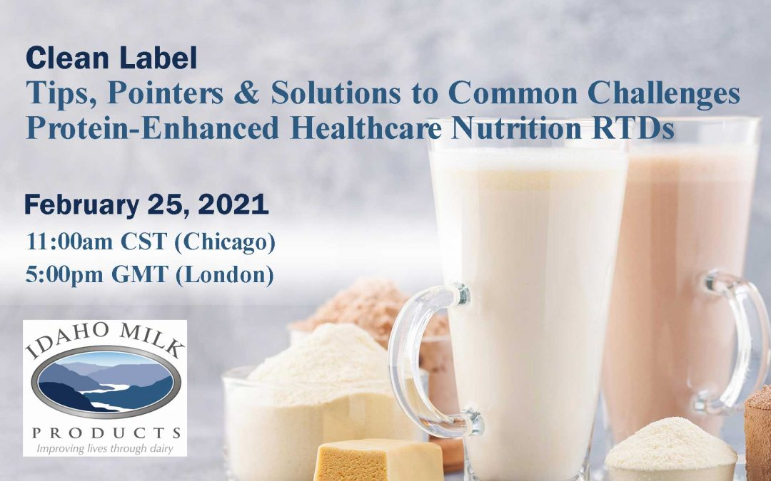 Idaho Milk Products' Webinar Scheduled for February 25, 2021